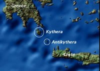 A Greek cargo ship sunk with a mechenical computer in the waters of the island of Antikythera