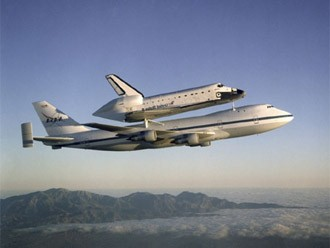 A special Boeing 747 with NASAs Space Shuttle in taxi